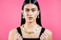 Beth Spowart: Green Swing Seat Necklace and Blue & Green Seat Earrings