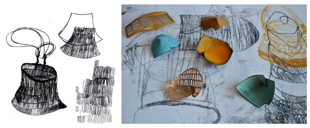 K Baines Sketchbook and test pieces Basketry