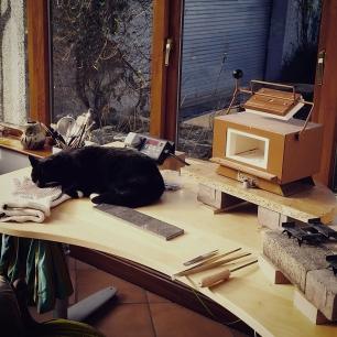 Emma McFarline: My enamelling desk & kiln (and sneaky cat)